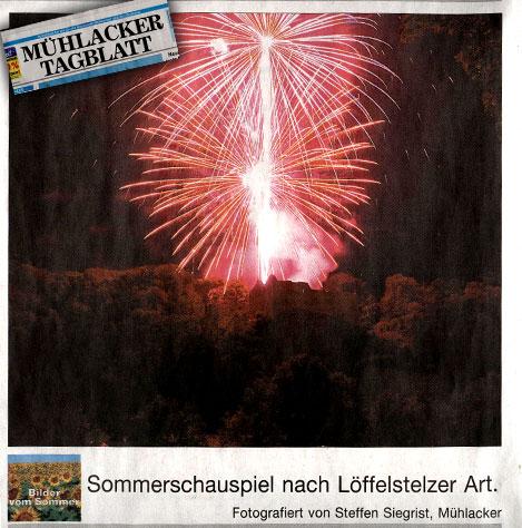 Muehlacker Tagblatt Feuerwerk Burgruine Loeffelstelz