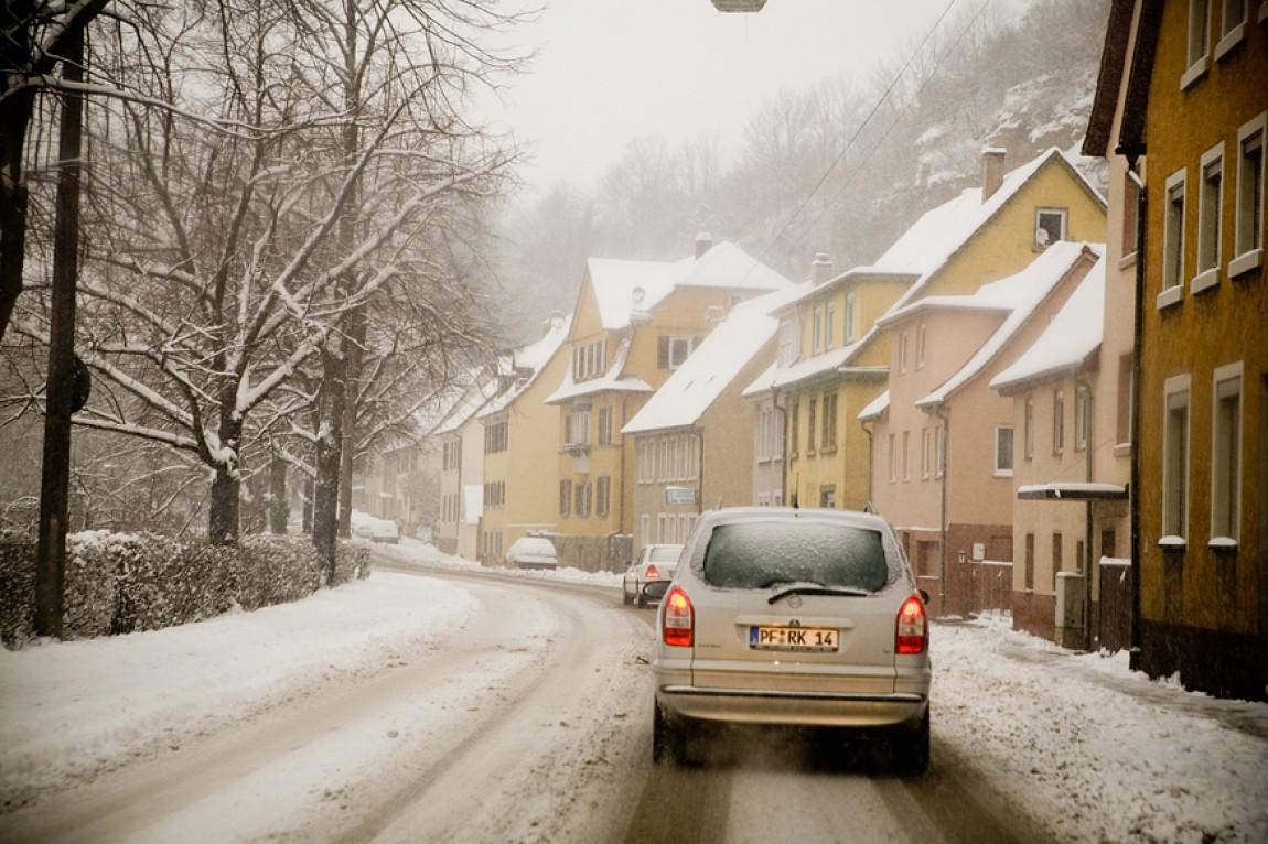Schneechaos in Mühlacker